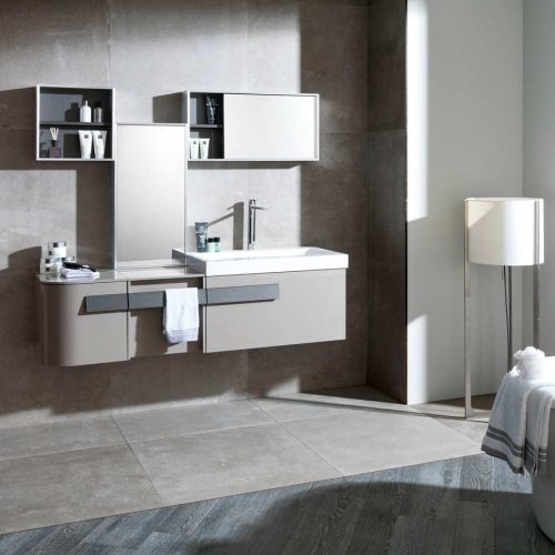 Satariano-Bathrooms-Gamadecor-Contemporary-light-grey-under-sink-unit-and-rectanglular-mirror