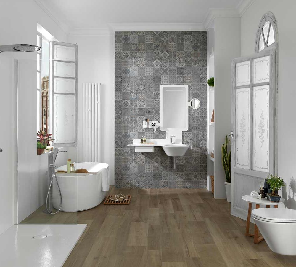 Satariano-Bathroom-Porcelanosa-Classic-wooden-flooring,-white-design-and-grey-feature-wall