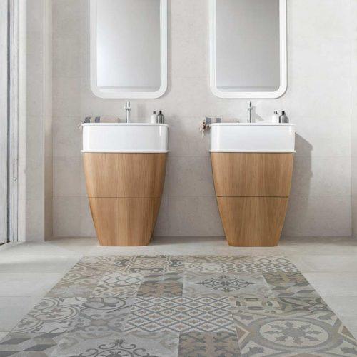Satariano-Bathroom-Porcelanosa-Modern-dual-sinks-with-beige-elements-and-mosiac-flooring