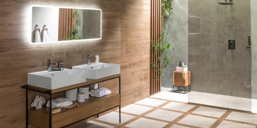 Satariano-Bathroom-Porcelanosa-Modern-with-wooden-design-and-large-shower-head