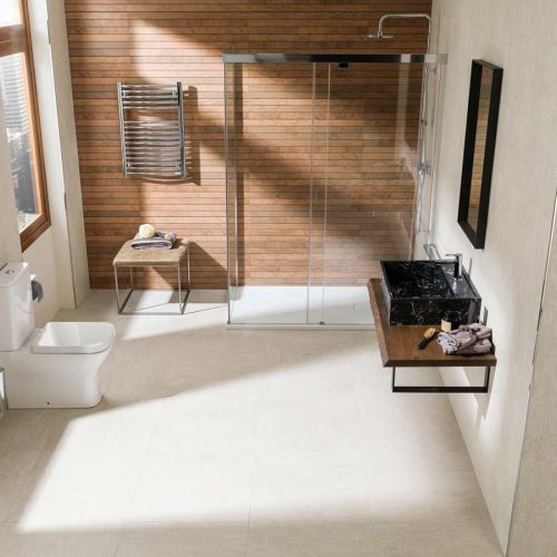 Satariano-Floor-and-Wall-Porcelanosa-Classic-beige-flooring-and-wooden-shower-wall