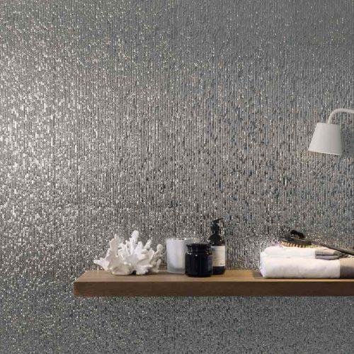 Satariano-Floor-and-Wall-Porcelanosa-Contemporary-small-grey-mosiac-feature-wall