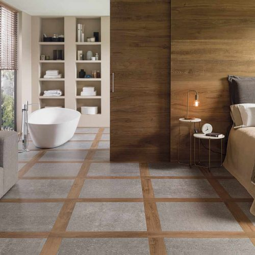 Satariano-Floor-and-Wall-Porcelanosa-Contemporary-snd-beige-and-grey-flooring-and-wooden-feature-wall