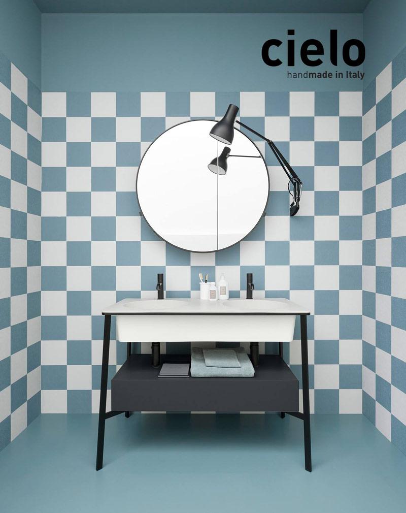 Satariano Bathroom Cielo Contemporary Design Bathroom Cabinet With A Round Mirror Satariano