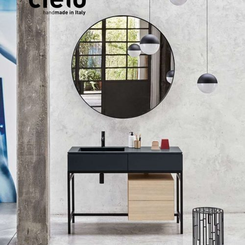 Satariano-Bathroom-Cielo-Contemporary-design-bathroom-with-a-cabinet-and-a-round-mirror