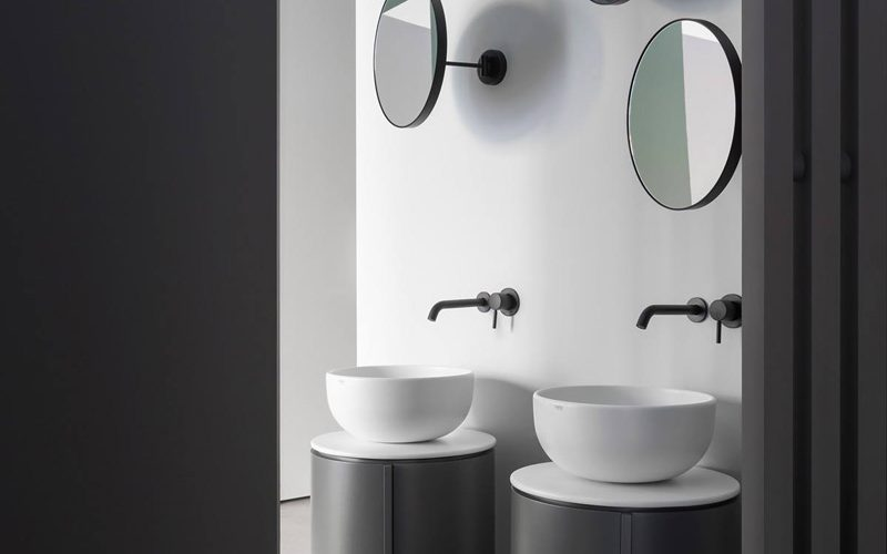 Satariano-Bathroom-Cielo-Contemporary-design-two-round-sinks-with-three-round-mirrors