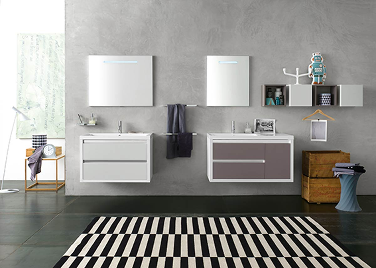 Satariano Bathrooms Inda Contemporary Two Sinks With Two Mirrors