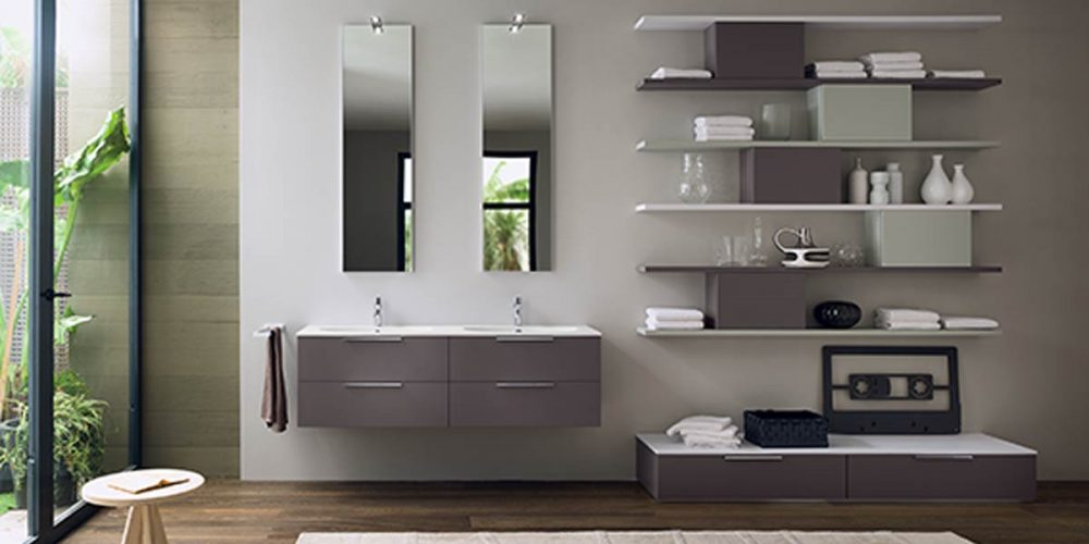 Satariano-Bathrooms-Inda-Modern-His-and-Hers-Sinks-with-Rectangular-mirrors-and-Floating-Shelves