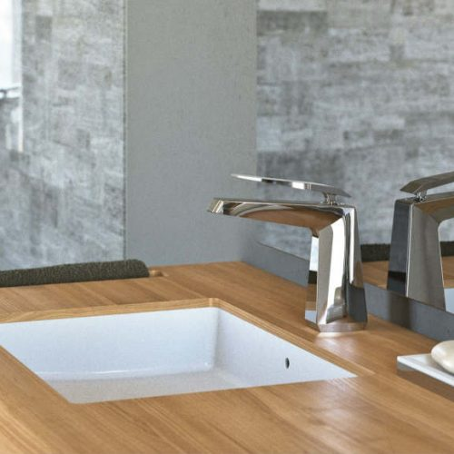 Satariano Bathrooms Mamoli Classic wooden over sink and metal fixture