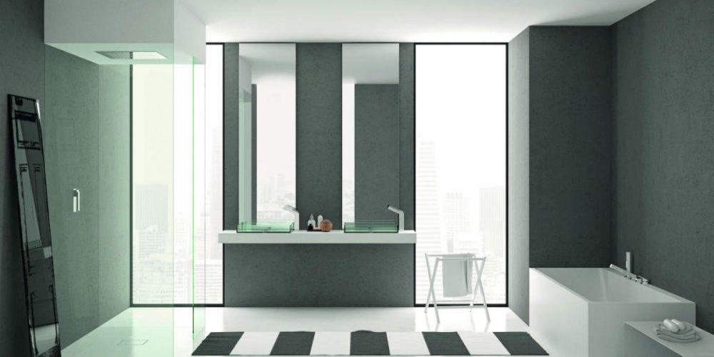 Satariano Bathrooms Mamoli Contemporary dual glass sinks