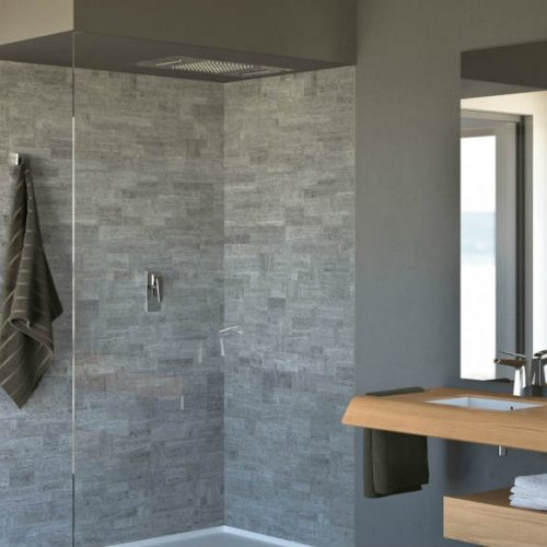 Satariano Bathrooms Mamoli Contemporary light wooden sink storage and shelves