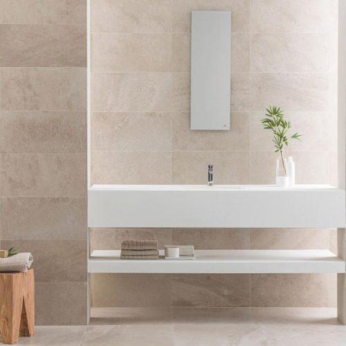 Satariano-Bathrooms-Urbatek-Classic-beige-wall-tiling-and-white-sanitaryware