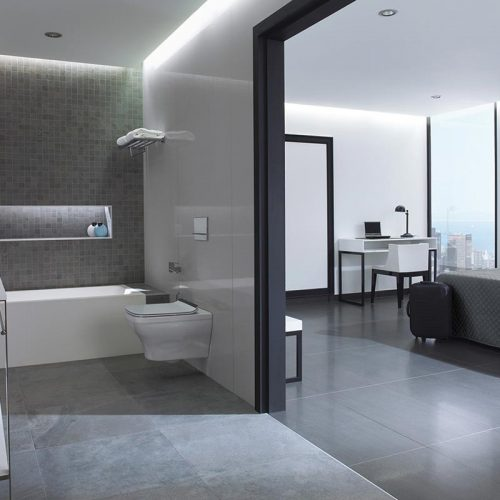 Satariano-Bathrooms-Urbatek-Contemporary-charcoal-tiling-and-featured-small-tiling-wall