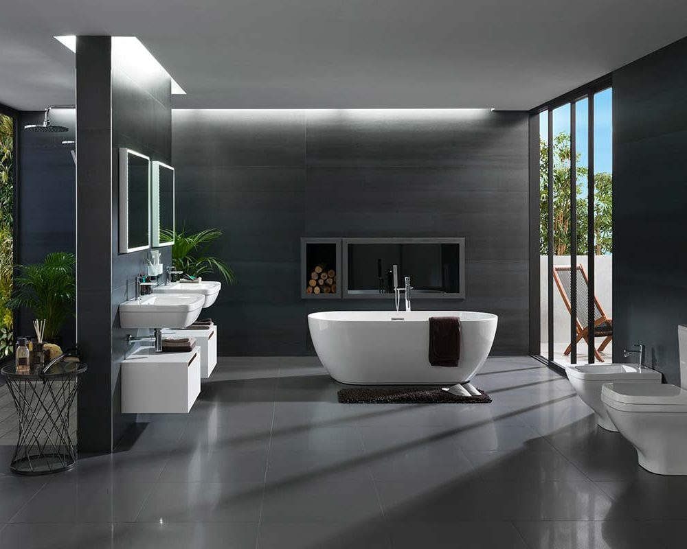 Satariano-Bathrooms-Urbatek-Modern-charcoal-flooring--white-large-bath-and-blue-toned-featured-walls