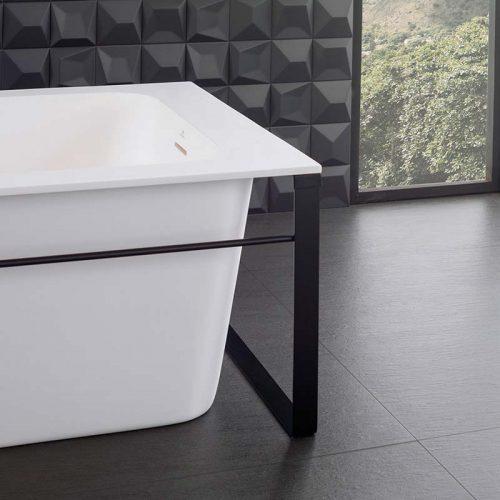 Satariano-Bathrooms-Urbatek-Modern--square-bath-and-charcoal-tiling-floor-and-walls