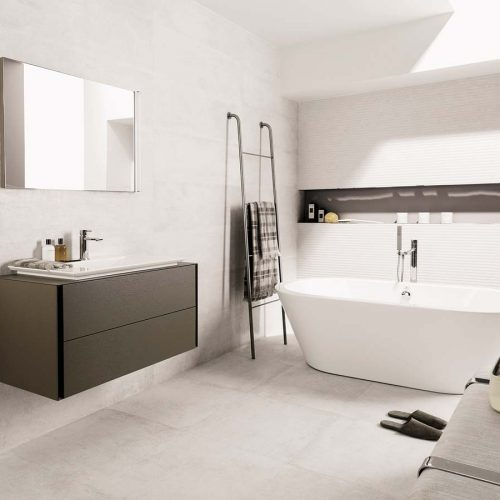 Satariano-Bathrooms-Venis-Classic-all-white-with-dark-brown-sink-storage