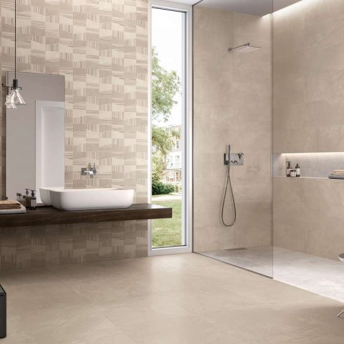 Satariano-Bathrooms-Viva-Classic-beige-textured-wall-and-wooden-shelf