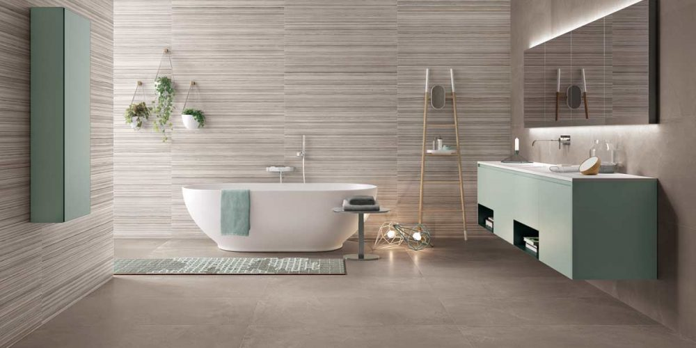 Satariano-Bathrooms-Viva-Modern-beige-toned-with-large-oval-bath-and-teal-shade-elements