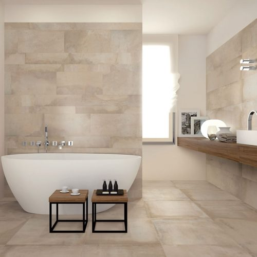Satariano-Bathrooms-Viva-Modern-beige-toned-with-large-oval-bath-and-wooden-elements