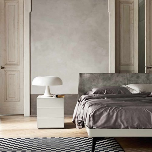 Satariano-Bedrooms-San-Giacomo-Classic-grey-toned-bed-with-nightstand