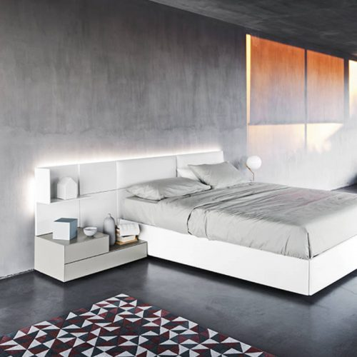 Satariano-Bedrooms-San-Giacomo-Classic-white-low-bed-with-grey-nightstand