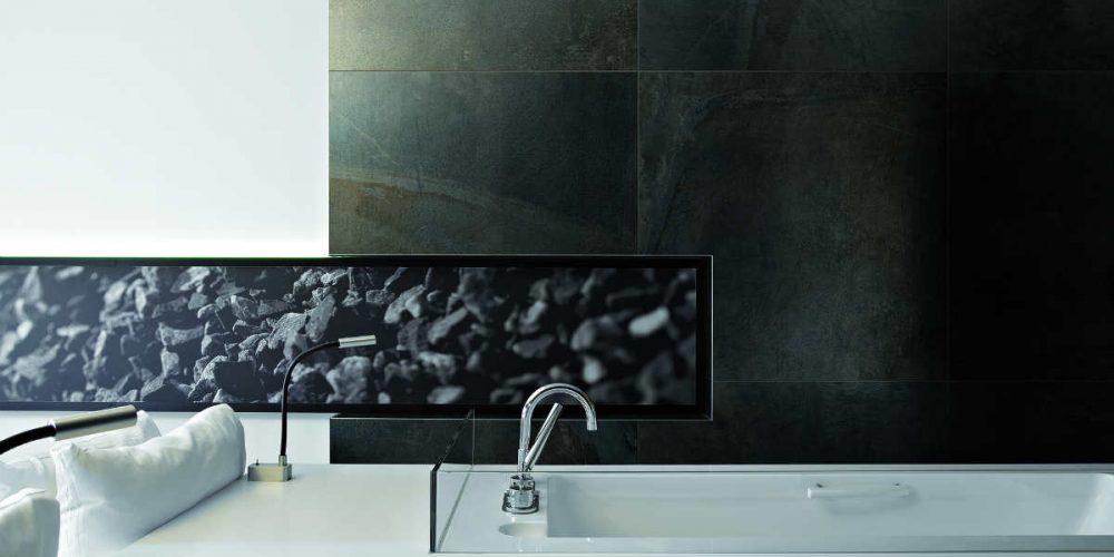 Satariano Floors and Walls Floor Gres Contemporary Bathroom Dark tiling on wall