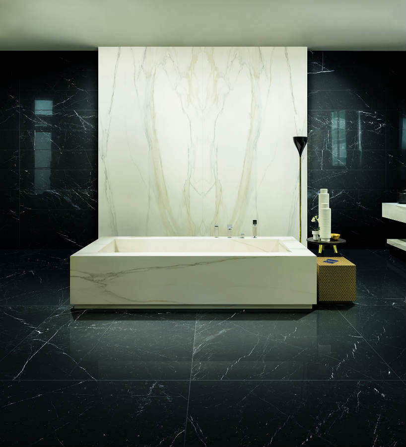 Satariano Floors and Walls Rex Classic Bathroom black and beige bath