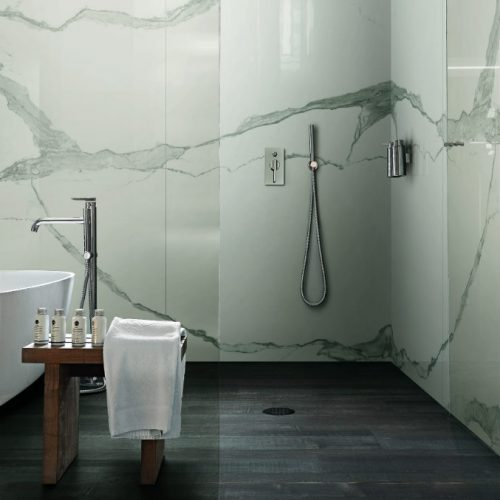 Satariano Floors and Walls Rex Contemporary dark wood floor and white patterned wall shower