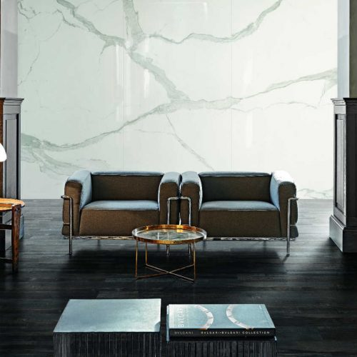 Satariano Floors and Walls Rex Contemporary wooden flooring and white marble feature wall