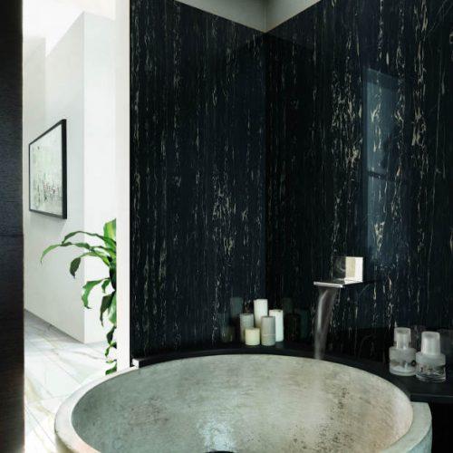 Satariano Floors and Walls Rex Modern Bathroom black and gold walls