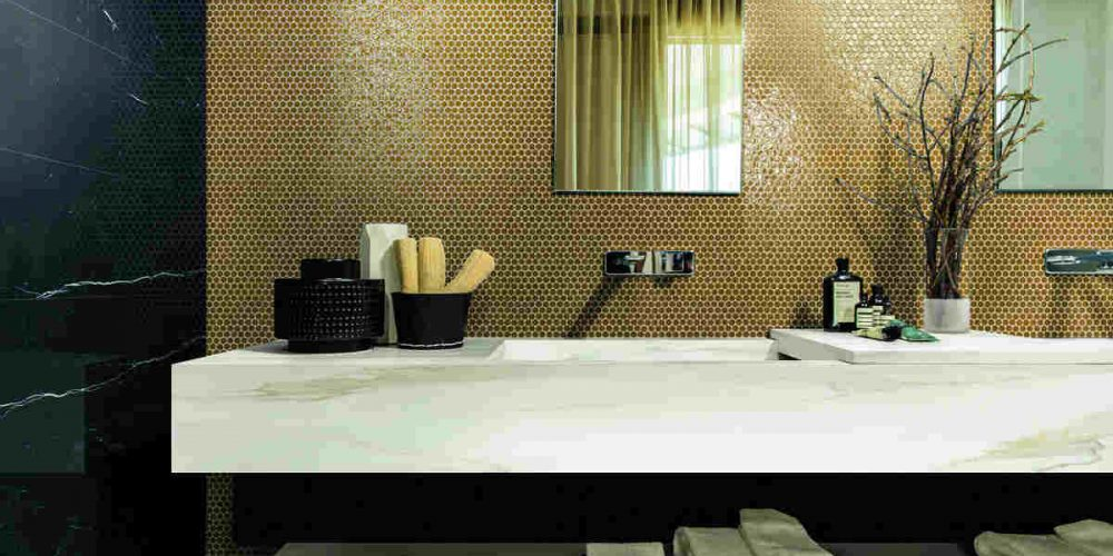 Satariano Floors and Walls Rex Modern Bathroom black marble wall and gold feature wall