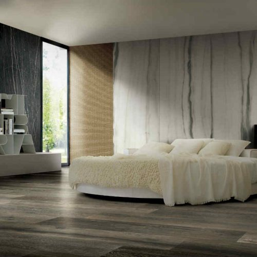 Satariano Floors and Walls Rex Modern wooden flooring dark wall and gold featurewall