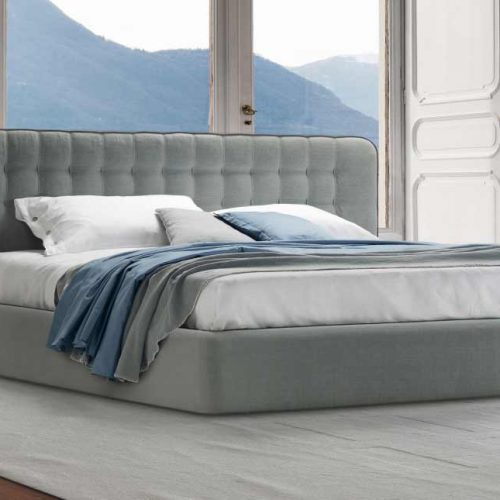 Satariano-Furniture-Desiree-Beds-Classic-grey-double-bed-with-pillow-textured-backframe