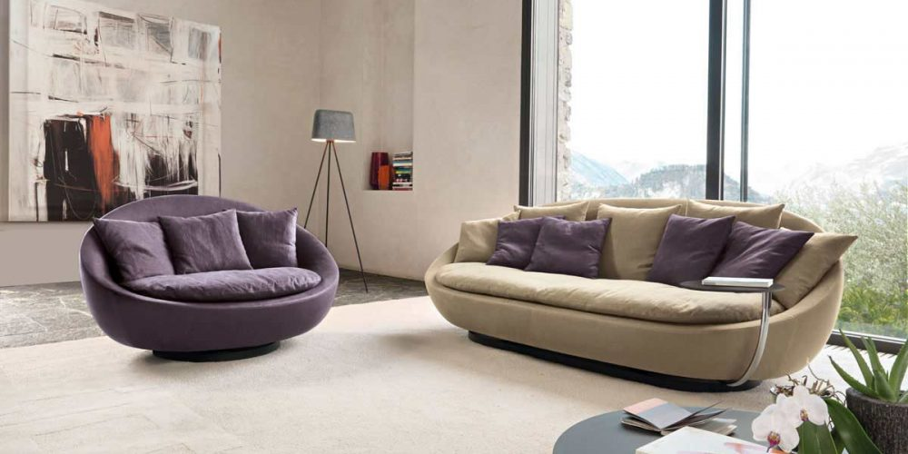 Satariano-Furniture-Desiree-Sofas-Modern-beige-sofa-and-purple-armchair