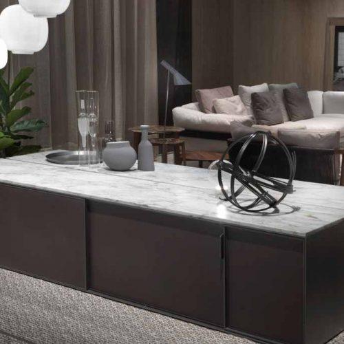Satariano-Furniture-Flexform-Modern-Dining-marble-and-dark-brown-sliding-doors-cupboard