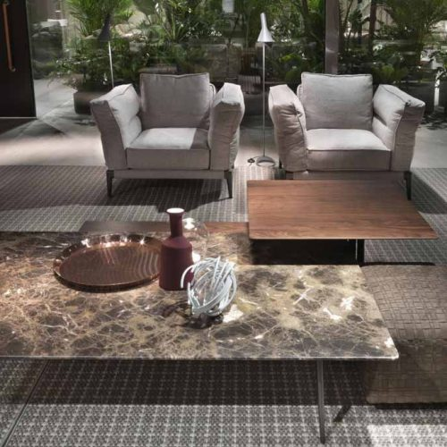 Satariano-Furniture-Flexform-Sofas-Classic-two-grey-textured-armchairs-and-one-oversized-double-leveled-coffee-table