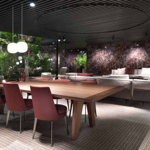 Satariano-Furniture-Flexform-Sofas-Contemporary-Sitting-and-Dining-wooden-dining-table-and-grey-sofa