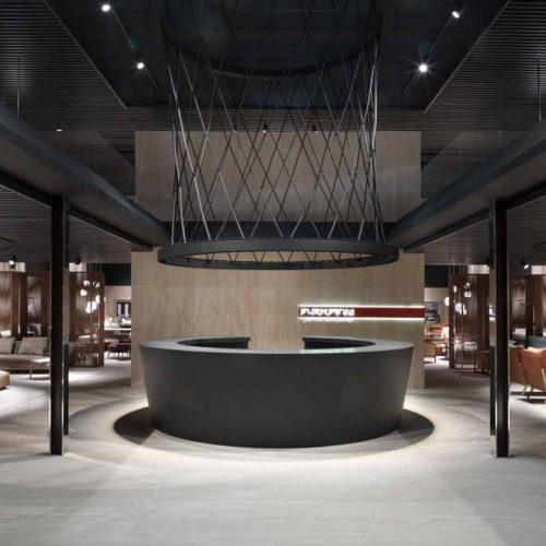 Satariano-Furniture-Flexform-Sofas-Modern-circular-reception-bar-stand