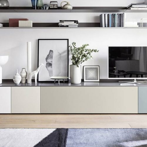 Satariano-Furniture-NovaMobili-Classic-Living-multi-coloured-low-tv-unit-and-two-long-shelves