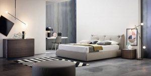 Satariano Furniture Novamobili Classic Light Grey Bed And Dark Brown Drawer Unit Satariano