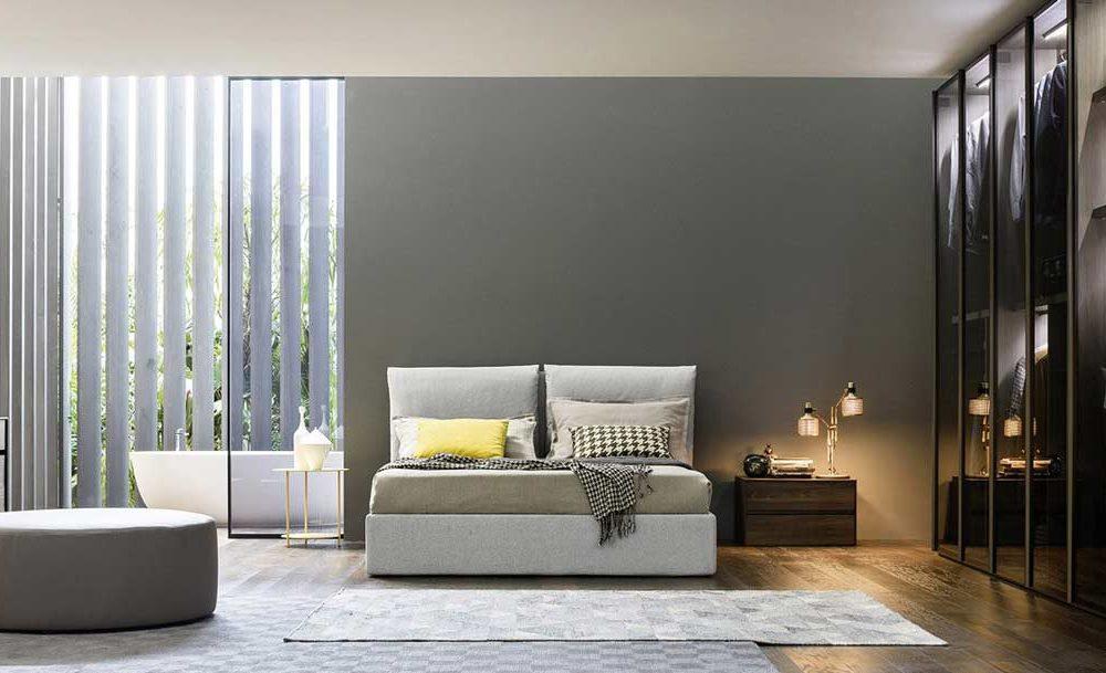Satariano-Furniture-NovaMobili-Classic-light-grey-bed-and-open-wardrobe