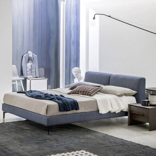 Satariano-Furniture-NovaMobili-Classic-navy-blue-bed-and-dark-brown-drawer-unit