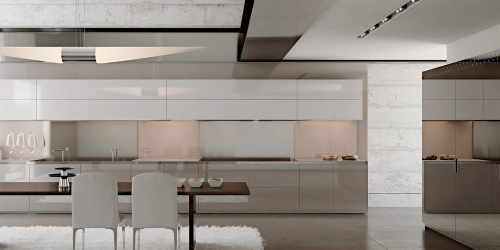 Satariano-Furniture-SCIC-Classic-Dining-Kitchen-grey-with-white-gloss-finish-and-brown-wooden-dining-table-and-high-gloss-finish-storage-unit