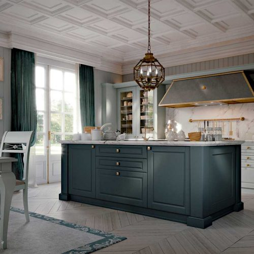 Satariano-Furniture-SCIC-Classic-Dining-island-kitchen-blue-with-kitchen-and-golden-handles-open-plan