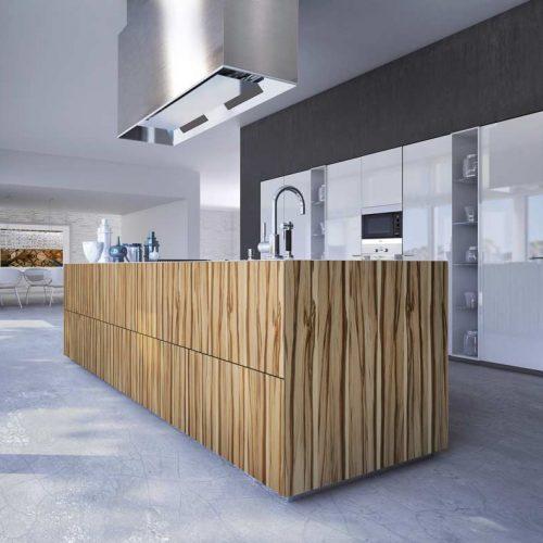 Satariano-Furniture-SCIC-Contemporary-Kitchen-open-plan-oak-striped-island-and-white-gloss-cupboard-builtin