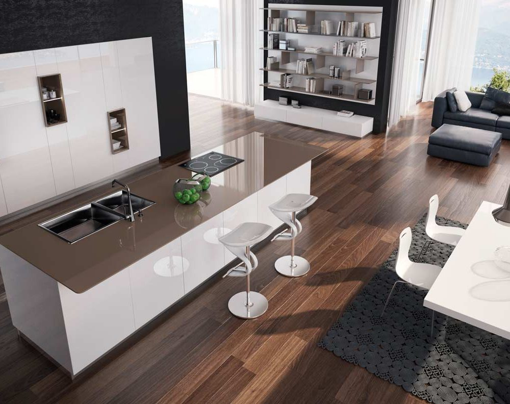 Satariano-Furniture-SCIC-Modern-Kitchen-open-plan-white-high-gloss-finish-and-brown-topping
