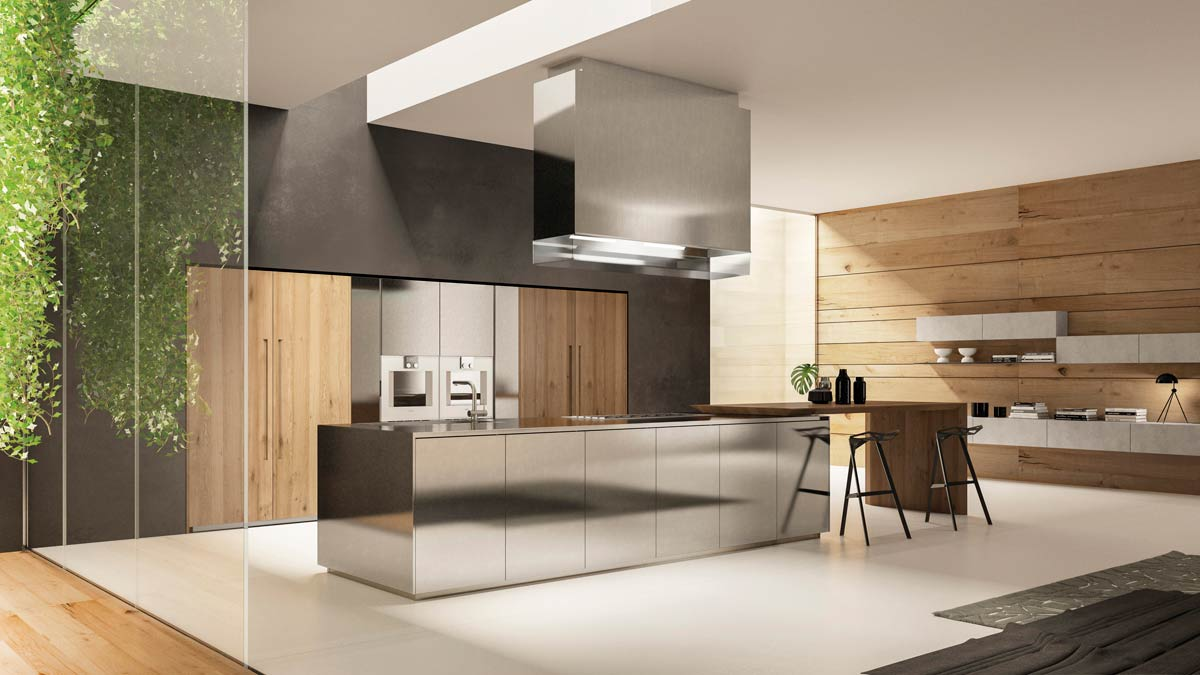 satariano furniture scic modern kitchen open plan wood and
