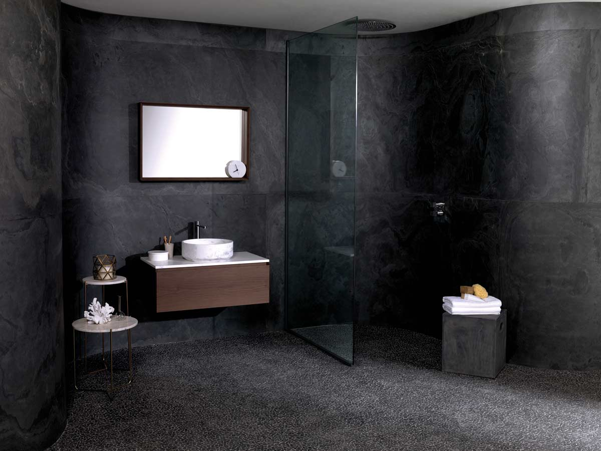 Pleasing Satariano L Antic Colonial Bathroom Modern Dark Grey Walls Interior Design Ideas Gresisoteloinfo