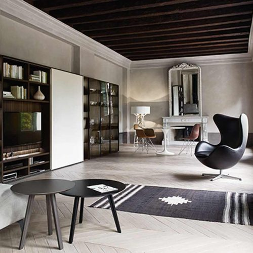 Satariano-Living-San-Giacomo-Classic-open-wall-unit-for-tv-and-circular-armchair