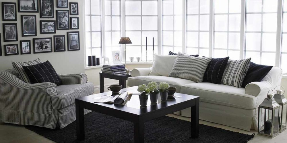 Satariano-Living-and-Dining-Classic-furninova-white-sofa-and-black-and-white-striped-armchair